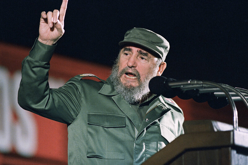 Cuban leader Fidel Castro, speaking at the 30th anniversary of the communist revolution on Jan. 1, 1989, in Havana, Cuba. Castro died Friday at age 90.