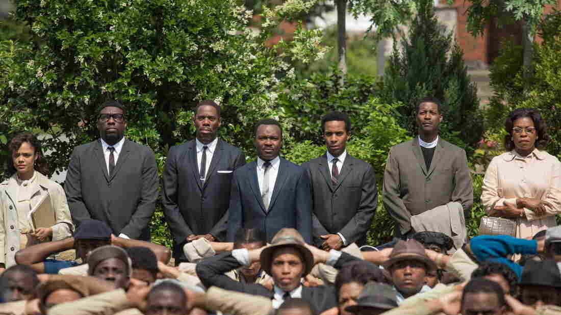 The film Selma stars David Oyelowo (center) as Martin Luther King, Jr., and focuses on several unsung activists in civil rights history. But critics say it distorts the role of President Lyndon B. Johnson and others.