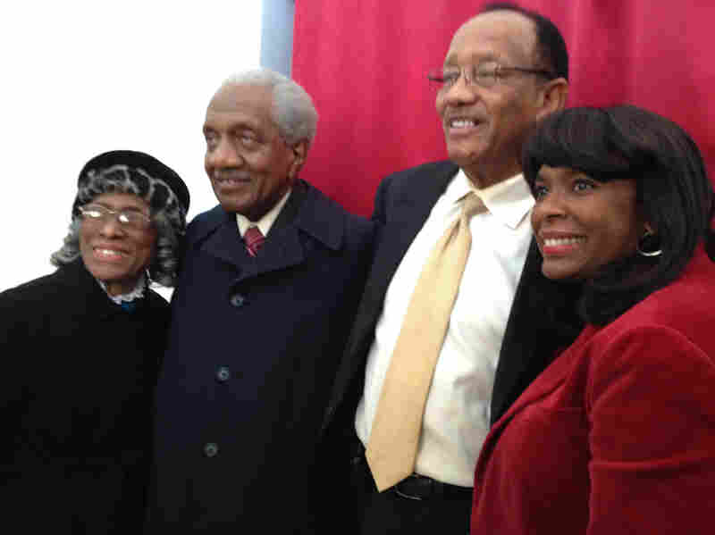 The Rev. F.D. Reese (second from left) was a leader of the Selma civil rights movement. His wife, Alline (left), Mayor George Evans and Rep. Terri Sewell, D-Ala., joined him for the showing.
