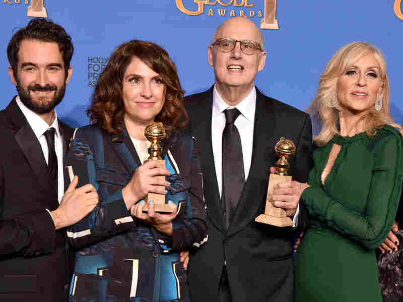 Transparent creator Jill Soloway (second from left) with actors Jay Duplass, Jeffrey Tambor, and Judith Light. Soloway and Tambor won Golden Globes on Sunday, a first for Amazon.