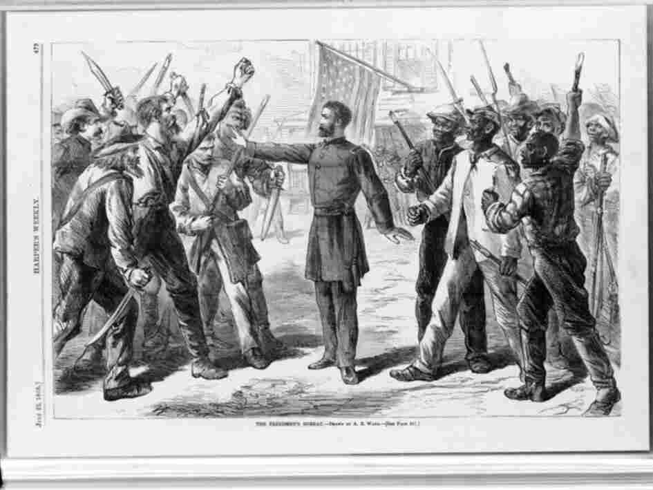 """The Freedmen's Bureau, depicted in this 1868 drawing, was created to give legal title for Field Order 15 — better known as """"40 acres and a mule."""""""