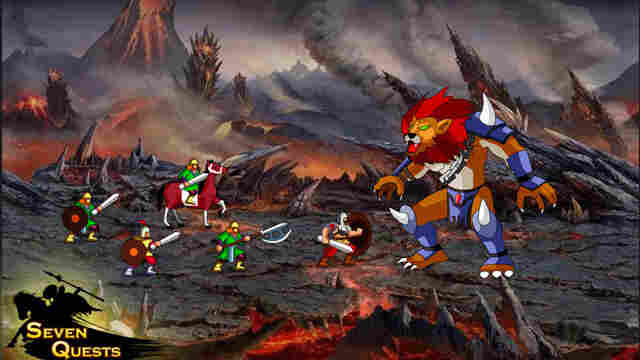 A screen shot from Seven Quests shows a battle with the hero, Rostam, and his troops. The game is based on a 1,000-year-old Iranian poem.