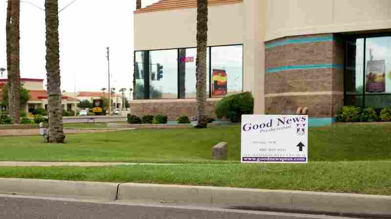 Good News Community Church, a tiny congregation of 25-30 adults, meets in different rented spaces in suburban Gilbert, Ariz. Signs pointing residents to services are limited to 6 square feet.
