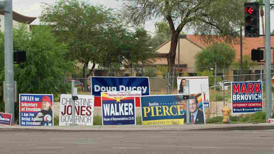"Political signs in Gilbert, Ariz. are permitted to be larger and stay up longer than ""directional"" signs like those pointing residents to local church services."