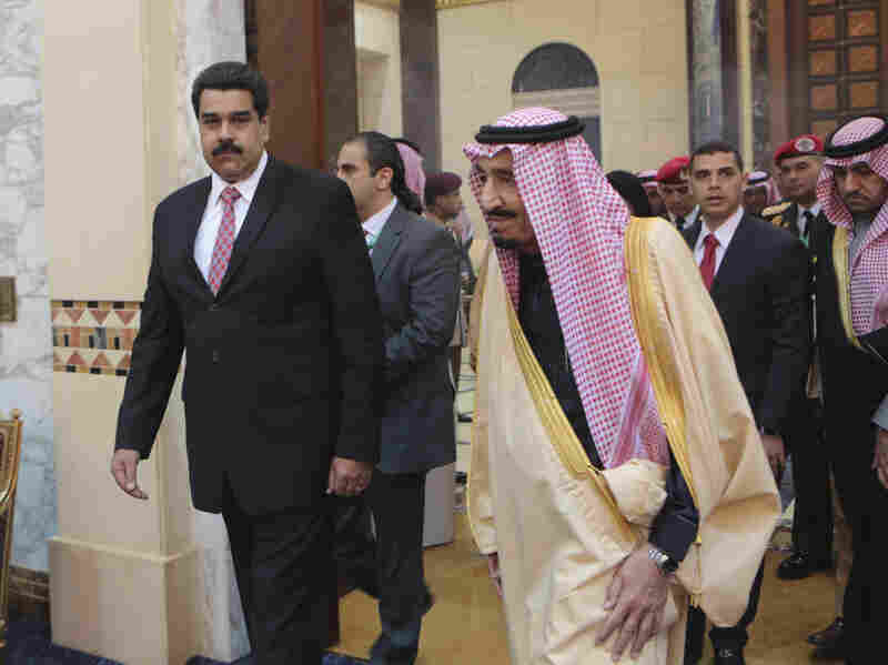 Venezuelan President Nicolas Maduro is welcomed by Saudi Crown Prince Salman in Riyadh on Sunday. The meeting was part of Maduro's diplomatic tour of OPEC members to discuss falling oil prices, which have hit Venezuela's economy hard.
