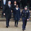 New York City Mayor Bill de Blasio and his wife, Chirlane McCray, attend the funeral of New York Police Officer Wenjian Liu in New York City on Jan. 4. McCray was criticized for her choice in clothing.