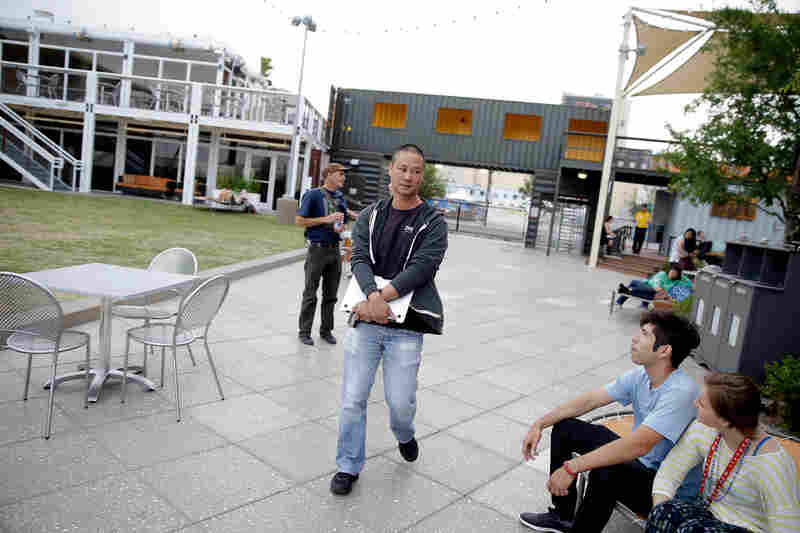 Tony Hsieh takes a walk through the Container Park campus.