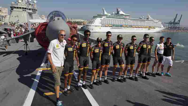 Cyclists from MTN-Qhubeka, a South African team, pose for a photo before the start of the third stage of the Vuelta, tour of Spain cycle race, in Cadiz, Spain, on Aug. 25. The team, in a first for Africa, will ride in this year's Tour de France.
