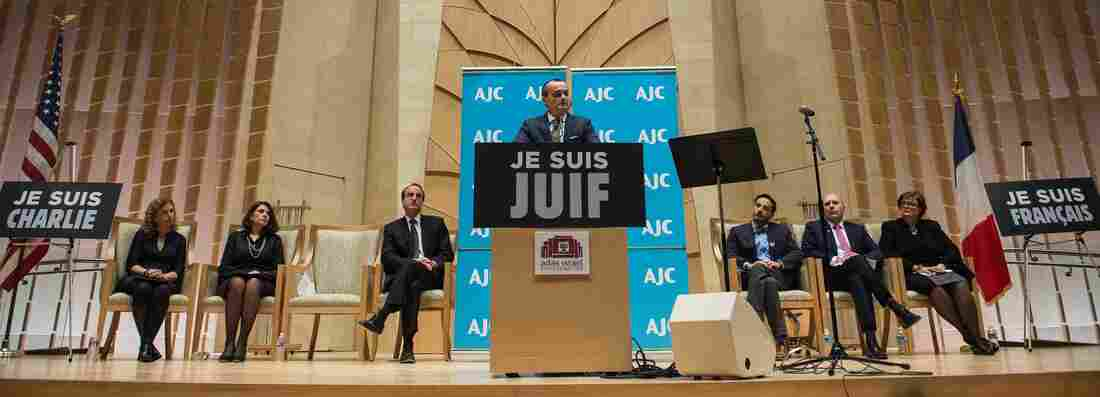 "French Ambassador to the U.S. Gerard Araud addresses a solidarity gathering at the Adas Israel Congregation in Washington, D.C., on Wednesday. Araud said last week's attack was ""in a sense maybe worse than what we were expecting, because it was done in a very professional way."""