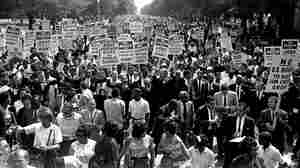 Dr. Martin Luther King Jr., marches with other civil rights protesters during the 1963 March on Washington.