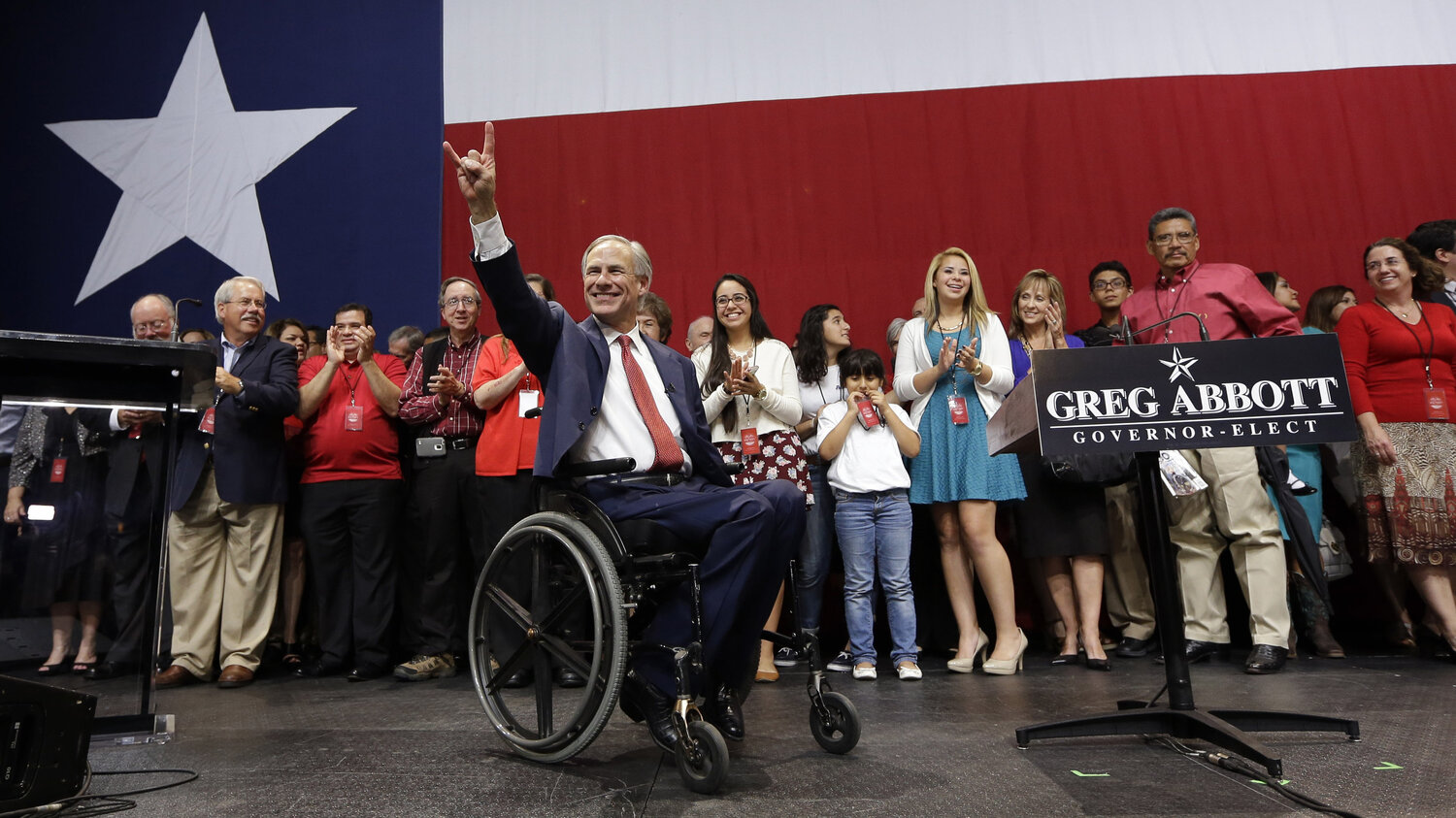 Texas Gov.-elect Greg Abbott acknowledges the crowd Nov. 4 after his victory speech in Austin.