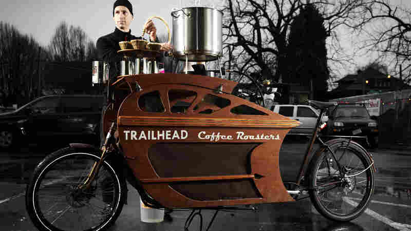 Charlie Wicker of Trailhead Coffee Roasters makes all of his deliveries within the 6-mile radius of urban Portland, Ore., on one of his custom-built cargo bikes. He can also pull over to brew and serve coffee.