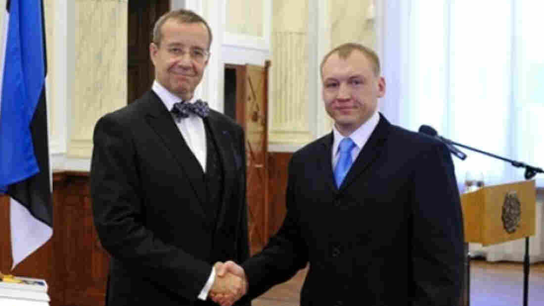 Estonian security service officer Eston Kohver is shown here receiving a decoration for his work in 2010 from Estonia's President Toomas Hendrik Ilves. Estonia said Kohver was abducted on Sept. 5, 2014, by unknown gunmen on its territory and taken across the border to Russia. Russian officials say he was detained on its territory and is suspected of being a spy.