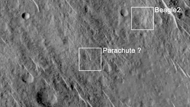 An image sent by NASA's Mars Reconnaissance Orbiter. Scientists have concluded that it shows the Beagle 2 Mars lander, which went missing in 2003.