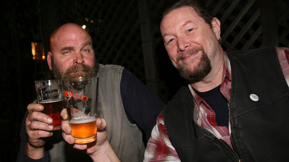 Fal Allen (right) shares a brew with W. Dan Houck. Both men work at Anderson Valley Brewing Company, where Allen's the brewmaster. He's also something of a Boontling scholar.