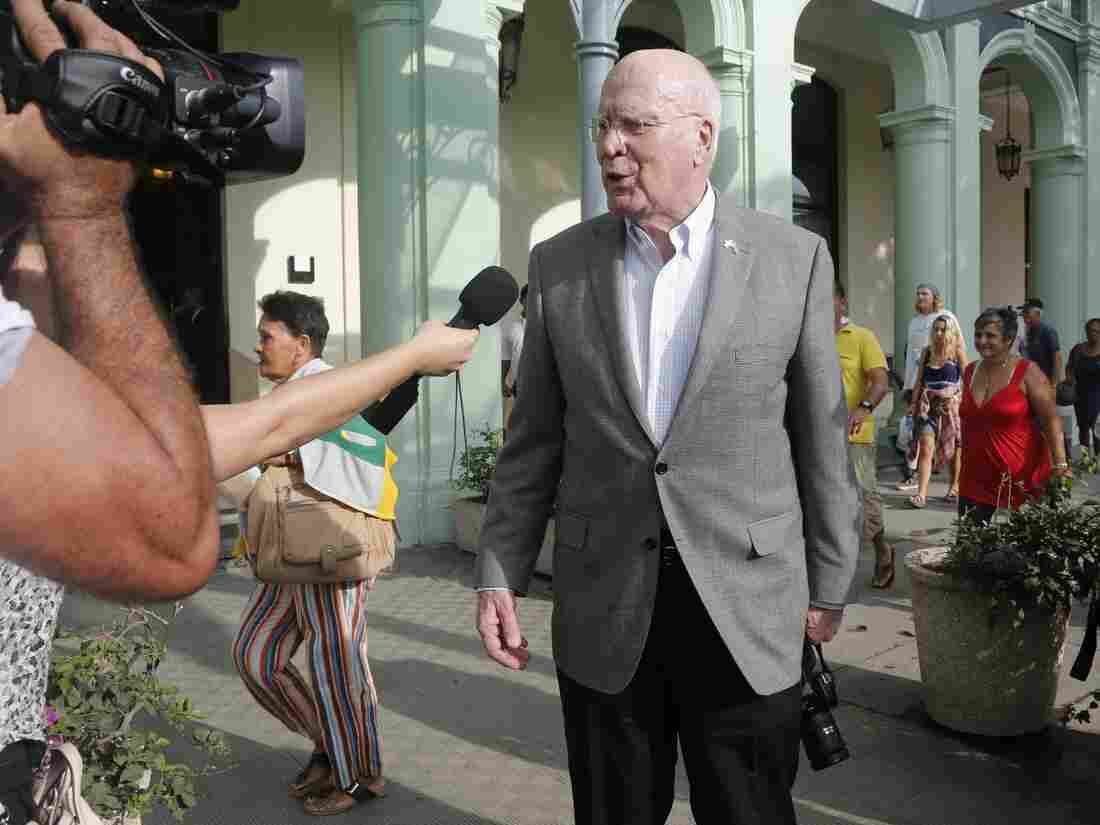 U.S. delegation leader Sen. Patrick Leahy (D-Vt.) talks with reporters as he leaves the Hotel Saratoga, in Havana, Cuba, on Saturday.