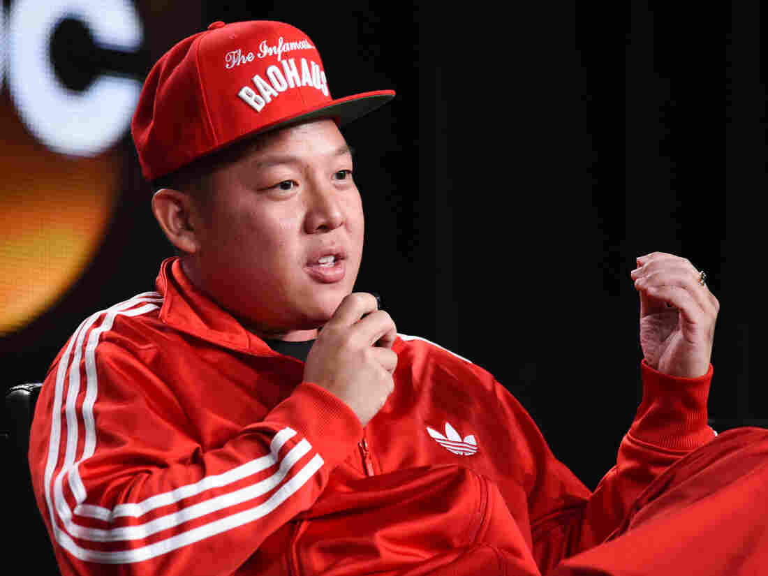 "Eddie Huang speaks on stage during the ""Fresh Off the Boat"" panel at the Disney/ABC event last week. ""I held off signing my contract all the way until they were shooting the pilot,"" he says."