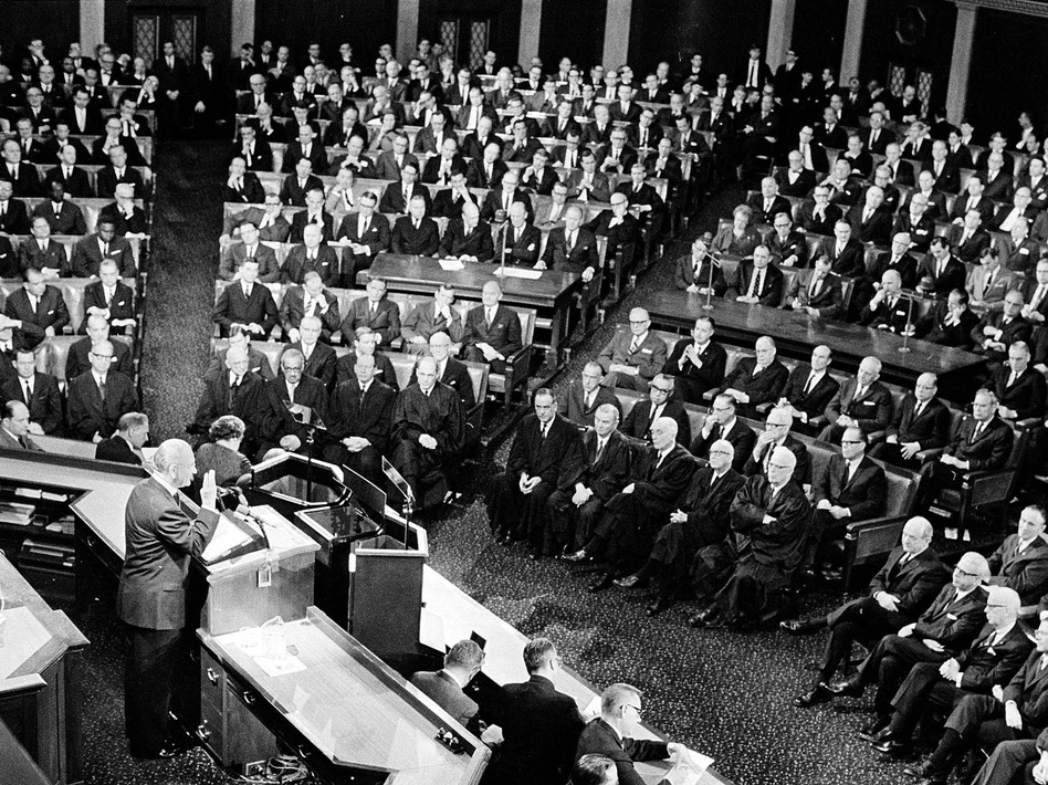 "During his 1965 State of the Union address, President Lyndon Johnson said, ""This, then, is the state of the union: free and restless, growing and full of hope."" (AP)"