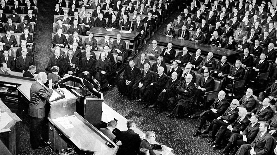 """During his 1965 State of the Union address, President Lyndon Johnson said, """"This, then, is the state of the union: free and restless, growing and full of hope."""""""