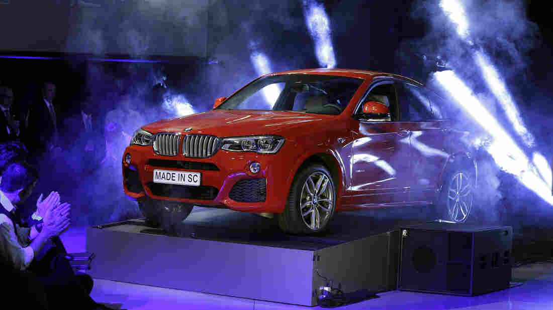 A new BMW X4 vehicle is unveiled during a March 2014 news conference at the BMW manufacturing plant in Greer, S.C.