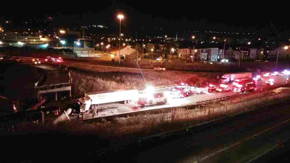 One construction worker was killed and a truck driver injured when a section of overpass collapsed onto southbound I-75 on Monday night. Cincinnati City Manager Harry Black says they don't know why the section of road fell.