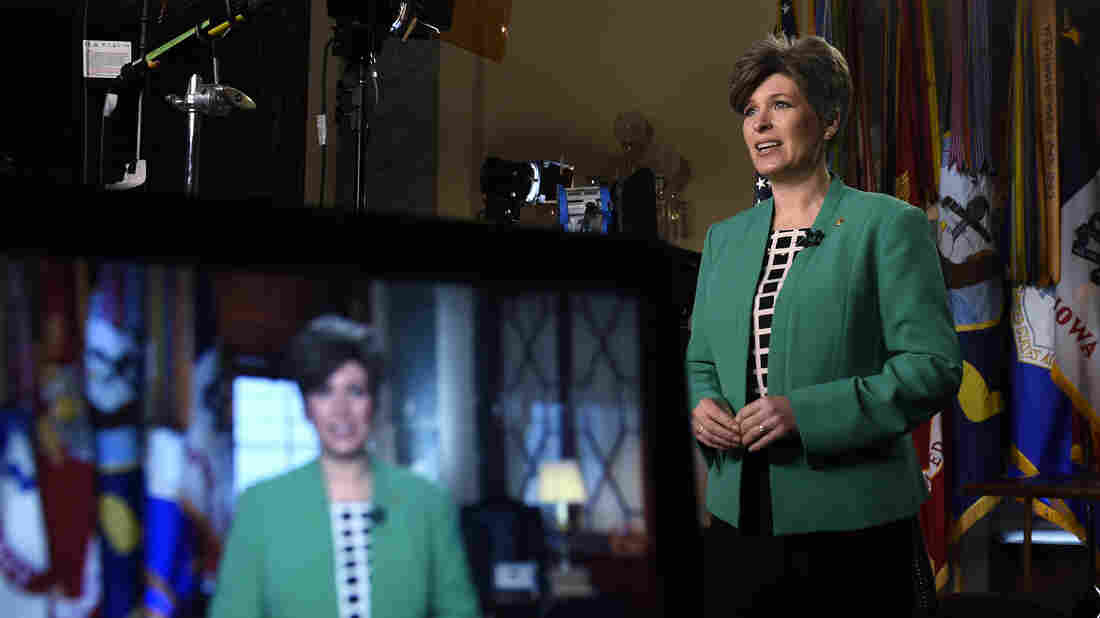 Sen. Joni Ernst, R-Iowa, rehearses her remarks for the Republican response to President Obama's State of the Union address on Tuesday.