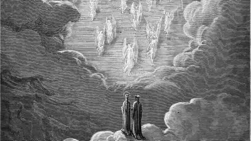 An 1870 engraving by Gustave Dore depicts the vision of the golden ladder, a scene from Dante's Paradiso.