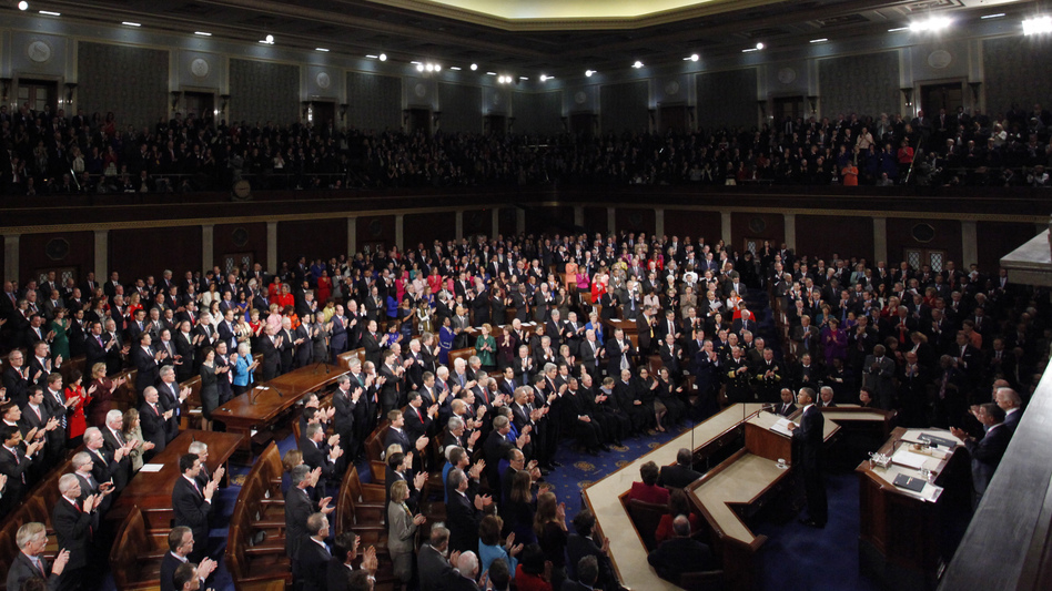 President Obama receives a standing ovation as he prepares to deliver his State of the Union address to a joint session of the U.S. Congress on Capitol Hill Tuesday.