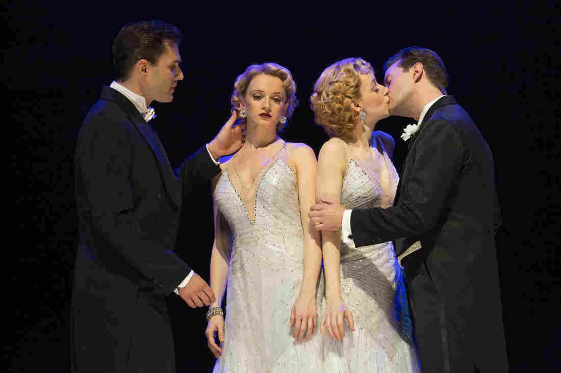 """Side Show tells the true story of conjoined twins who go from a freak show to vaudeville and try, unsuccessfully, to find love along the way. """"We just did not get enough bodies and butts in seats that translate into word of mouth,"""" says Side Show producer Darren Bagert. Above (from left): Ryan Silverman, Emily Padgett, Erin Davie and Matthew Hydzik."""