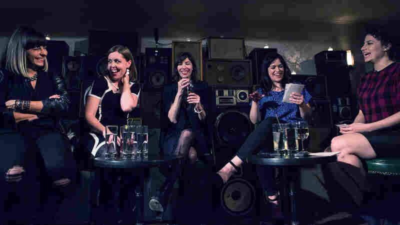The stars of Broad City, Ilana Glazer (far right) and Abbi Jacobson (second from right) in conversation with the members of the rock band Sleater-Kinney (l-r: Janet Weiss, Corin Tucker, Carrie Brownstein) at the Ace Hotel in New York City.