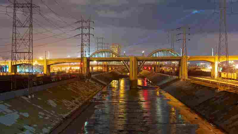 The Los Angeles River in 2013. Engineers turned it into a narrow concrete channel in the 1940s, after a flood destroyed homes and left 100 people dead in 1938.