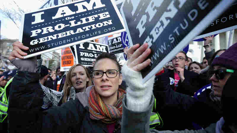 "Anti-abortion activists participate in the annual ""March for Life"" in Washington, D.C., on Thursday."