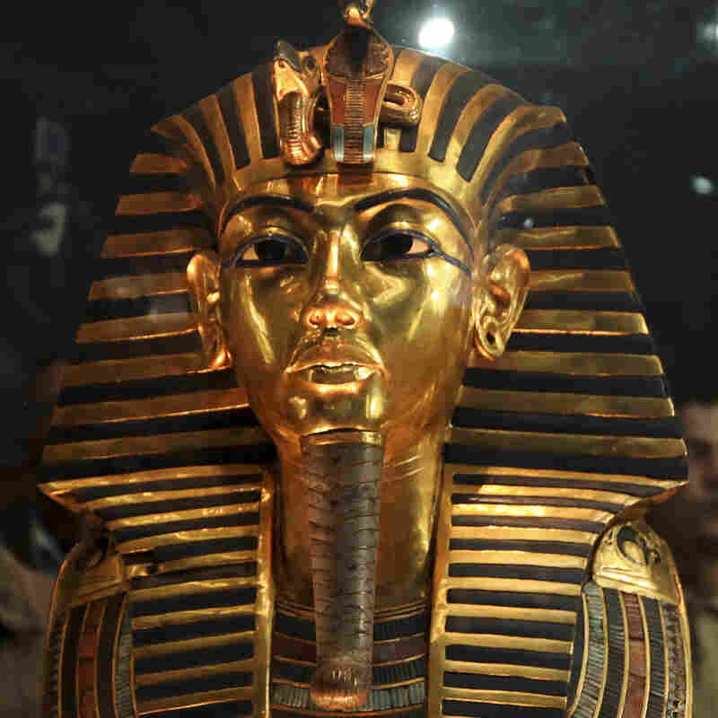 The funeral mask of King Tutankhamun is seen during a 2011 tour for the press in the Egyptian Museum in Cairo, Egypt. Officials say the mask's beard broke off last year, and was hastily glued back on.