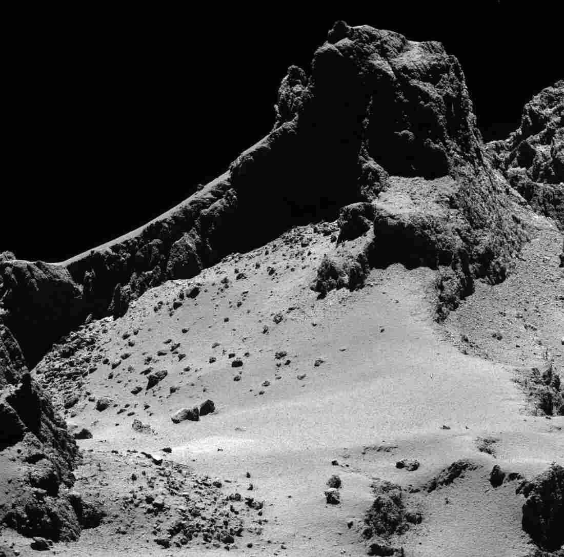 A section of the smaller of Comet 67P/Churyumov–Gerasimenko's two lobes, seen through Rosetta's narrow-angle camera from a distance of about 8 kilometers from the surface last October.