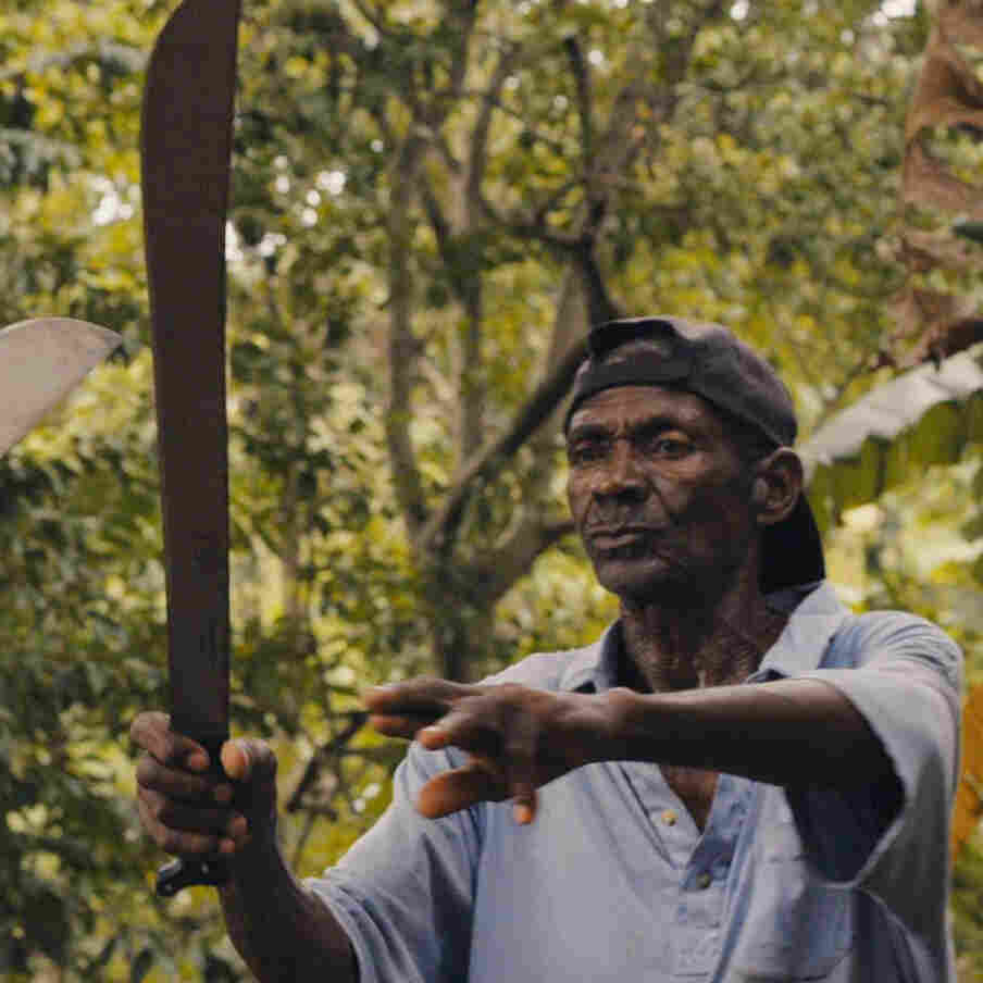 Machete master Alfred Avril instructs his son, Jean-Paul.