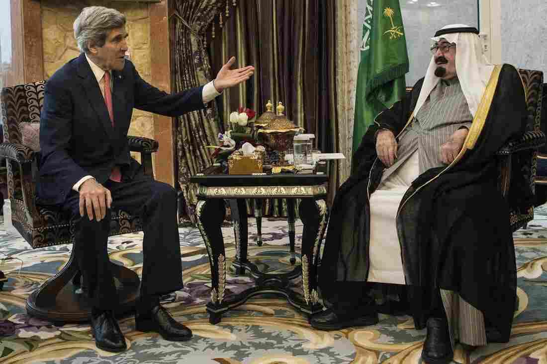 Secretary of State John Kerry meets Saudi Arabia's King Abdullah at his desert encampment in Rawdat al-Khuraim on Jan. 5, 2014. The king died on Friday at age 90.