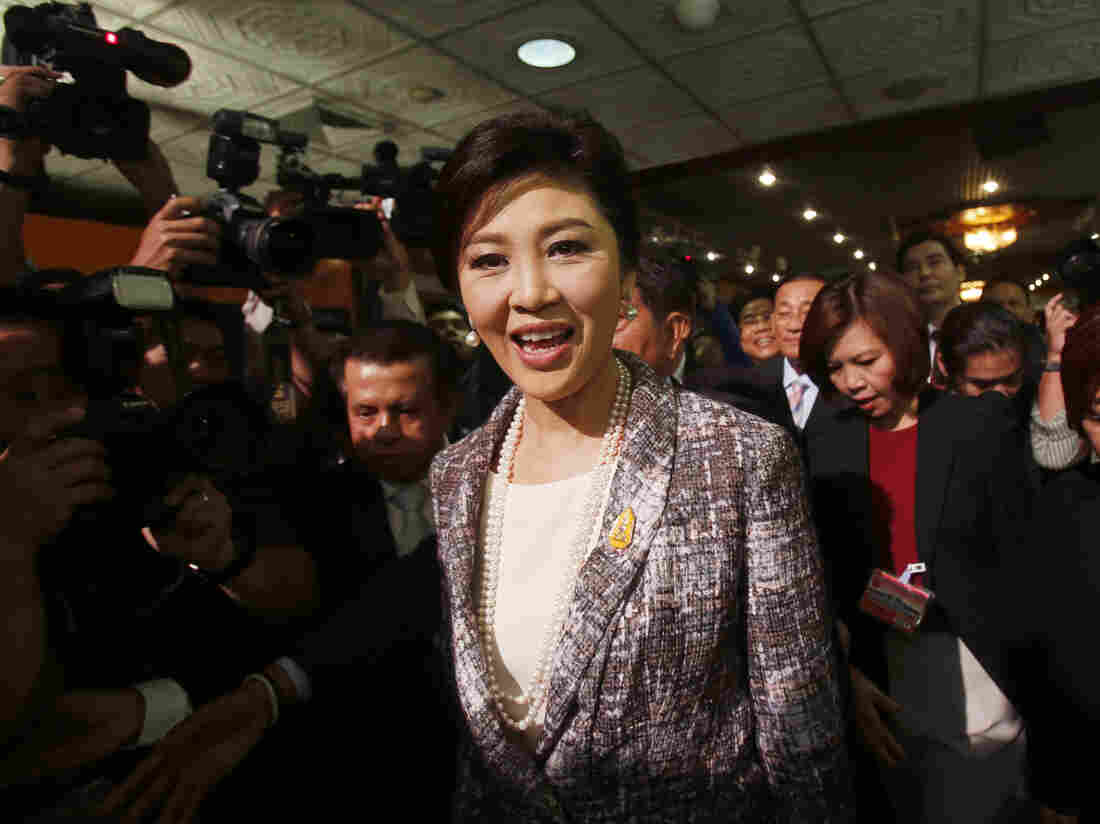Thailand's former Prime Minister Yingluck Shinawatra, arrives at parliament in Bangkok, Thailand on Thursday, to face an impeachment vote.