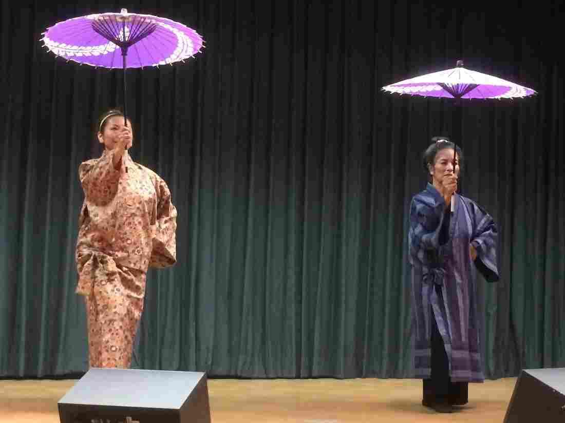 Two performers rehearse a traditional Japanese dance for  Denver's 2015 Kohaku Uta Gassen.