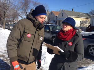 Susan Sadlowski Garza, a counselor at Jane Addams Elementary, and a supporter canvass the South Side of Chicago. Garza is running for Chicago's City Council.