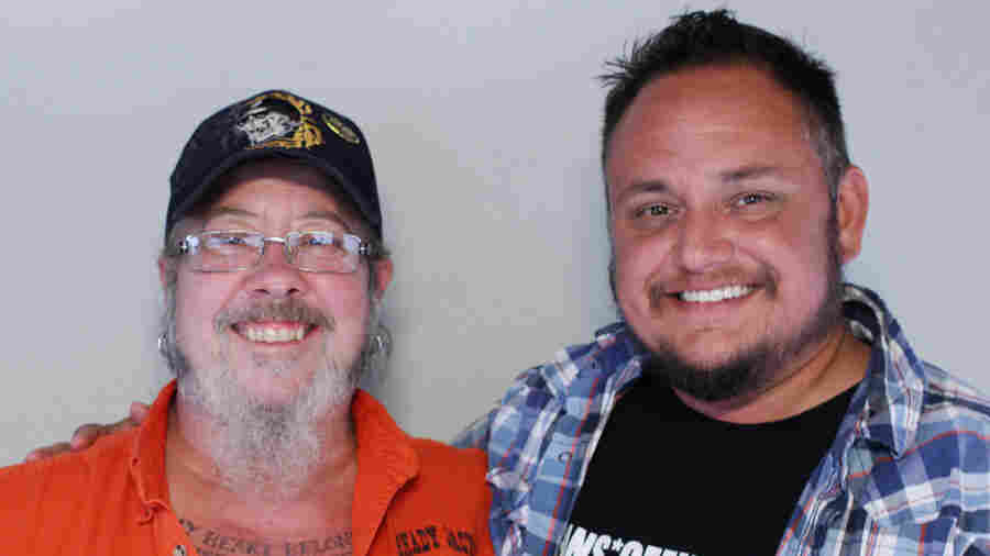 """Shane Fairchild (left) tells his friend Sayer Johnson that his late wife, Blue Bauer, was """"the only person I ever met that ever treated me like I was me."""""""