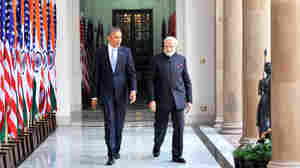 Indian Prime Minister Narendra Modi and President Obama meet at Hyderabad House in New Delhi on Sunday, the first day of Obama's three-day trip to India.