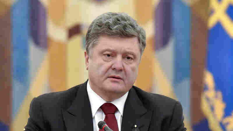 Ukraine's president Petro Poroshenko speaks at a meeting of the National Security and Defense Council (NSDC) of Ukraine on Sunday.