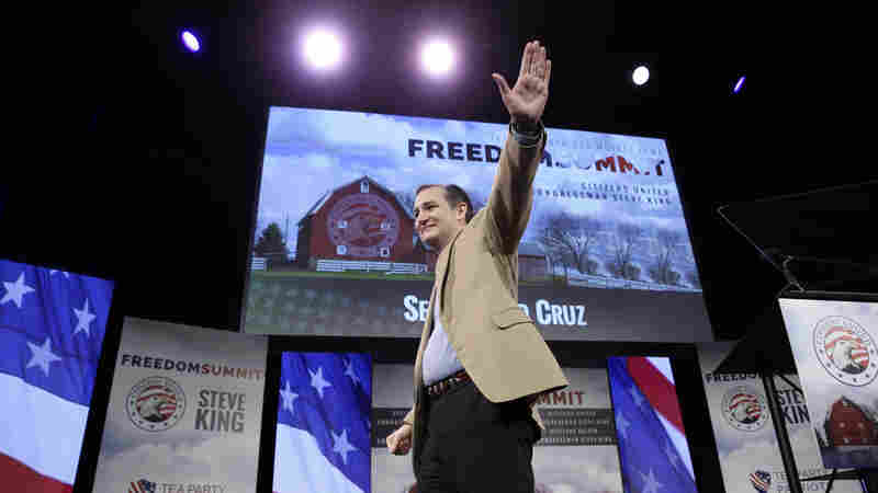 Sen. Ted Cruz, R-Texas, leaves the stage after speaking at the Iowa Freedom Summit on Saturday in Des Moines, Iowa.