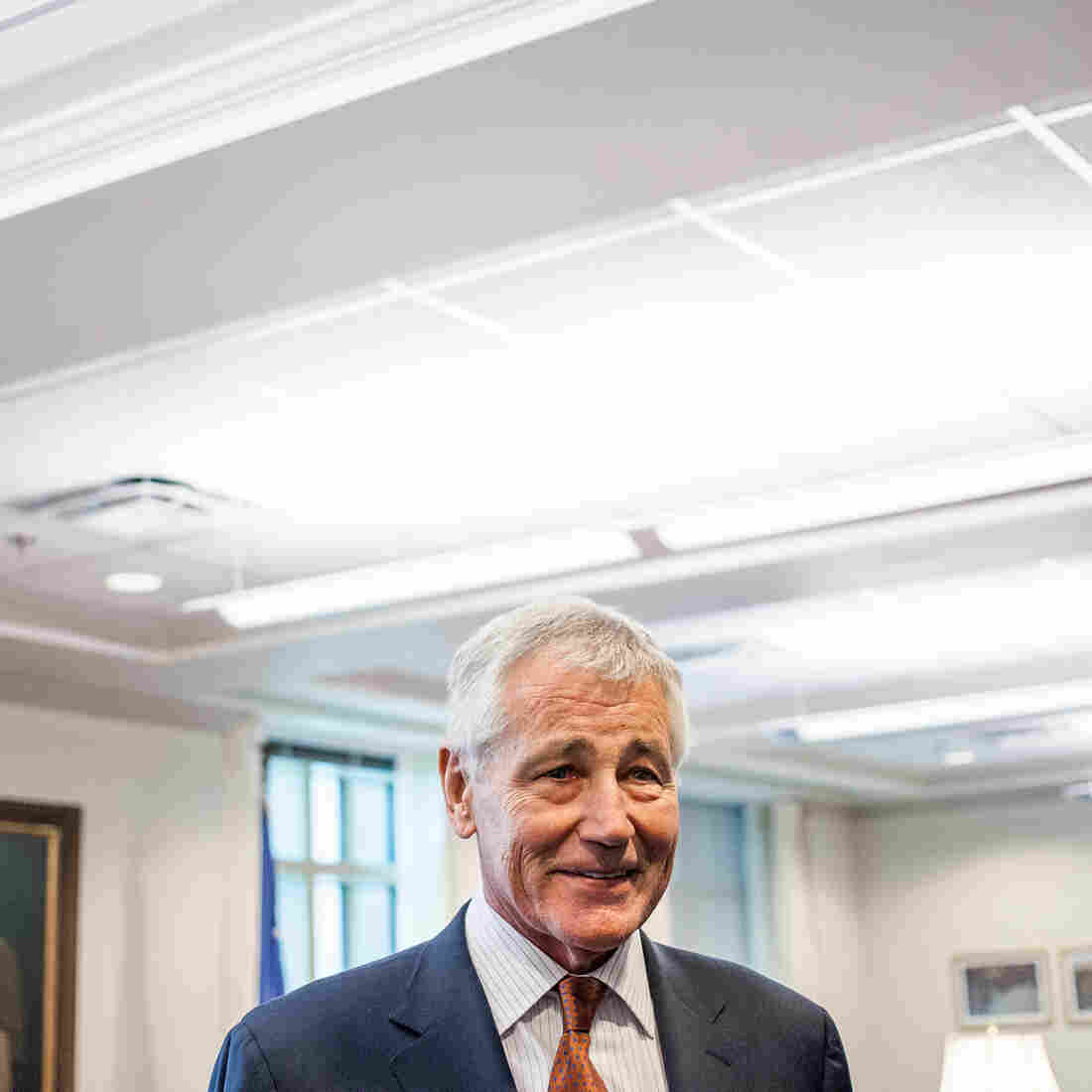 Secretary of Defense Chuck Hagel is shown here in his Pentagon office Friday, before his interview with NPR's Steve Inskeep.