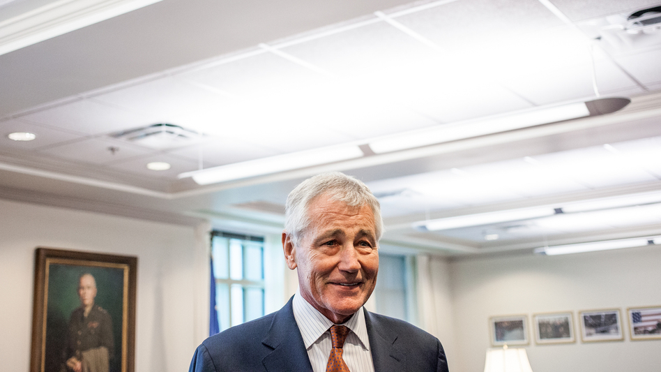 Secretary of Defense Chuck Hagel is shown here in his Pentagon office Friday, before his interview with NPR's Steve Inskeep. (Ariel Zambelich /NPR)