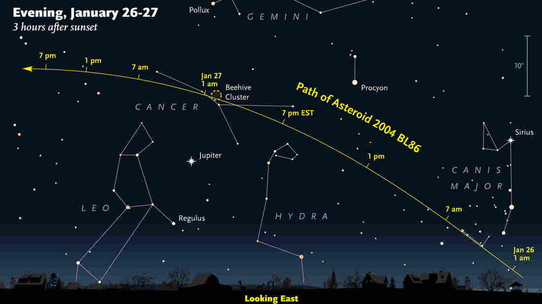 Asteroid 2004 BL86 will be visible in parts of the sky tonight. Visibility is expected to peak around 9 p.m. ET, as shown in this NASA graphic.
