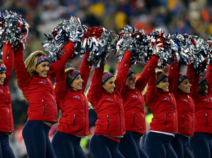 The Patriots cheerleaders perform in the first half against the Indianapolis Colts in the 2015 AFC Championship game.
