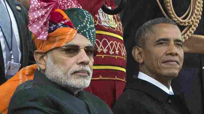 Indian Prime Minister Narendra Modi and President Obama watch the Republic Day parade in New Delhi, India, on Monday.