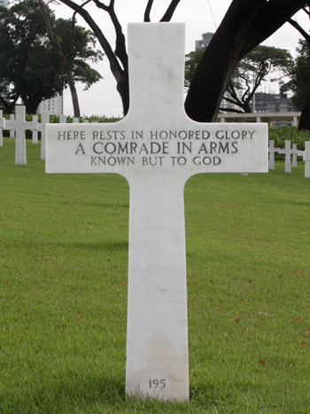 The grave at the Manila American Cemetery and Memorial, where Bud Kelder was buried with 13 other soldiers who died on the same day.