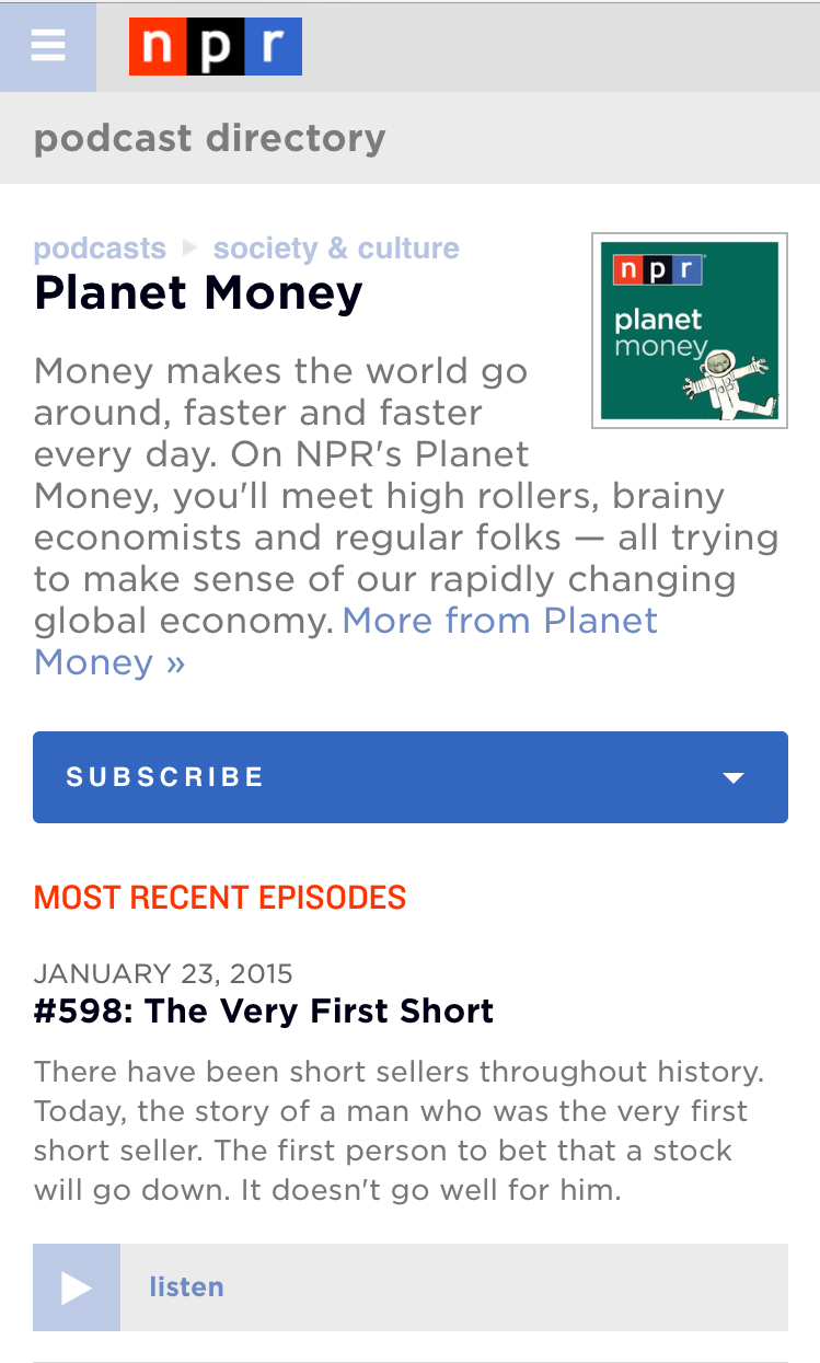 A powerful search tool will let you find any podcast from NPR, member stations and partners.
